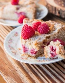 I love finding old fashioned, favorite family recipes that you may have grown up eating at Grandma's house, like this Cinnamon Raspberry Buckle Cake. ohsweetbasil.com
