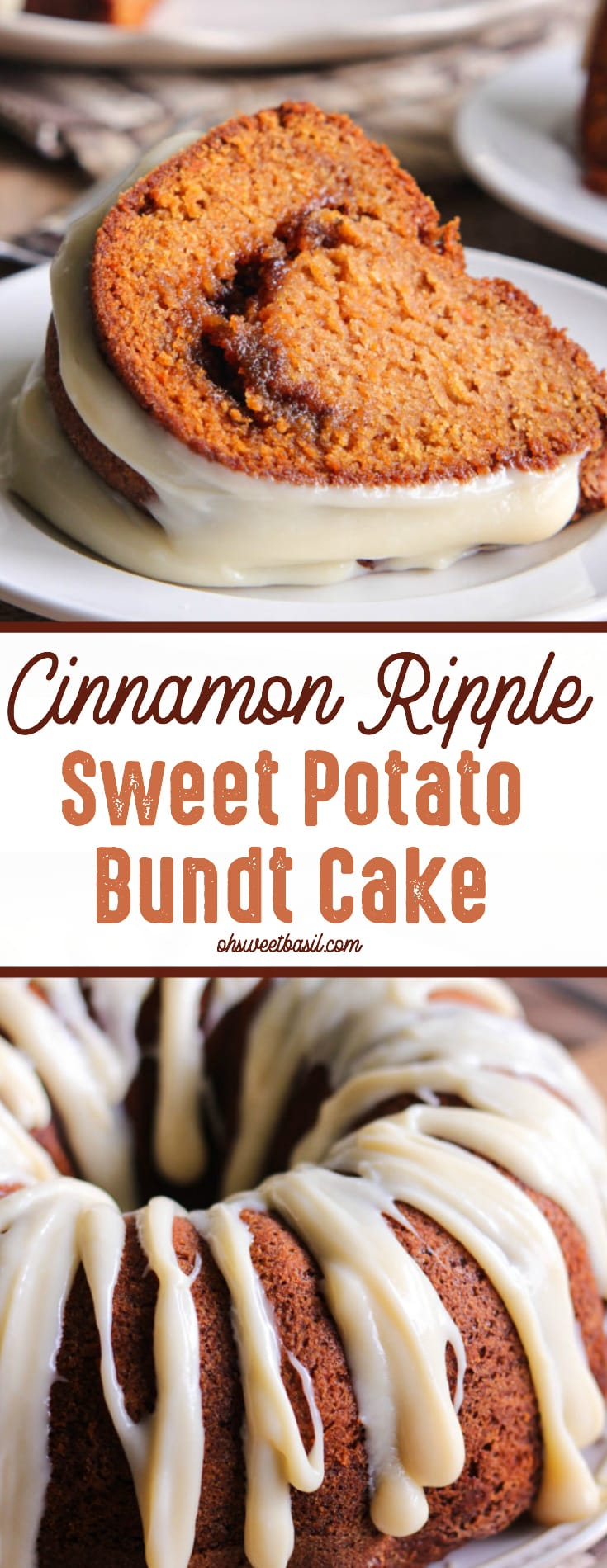 A slice of Cinnamon Ripple Sweet Potato Bundt Cake