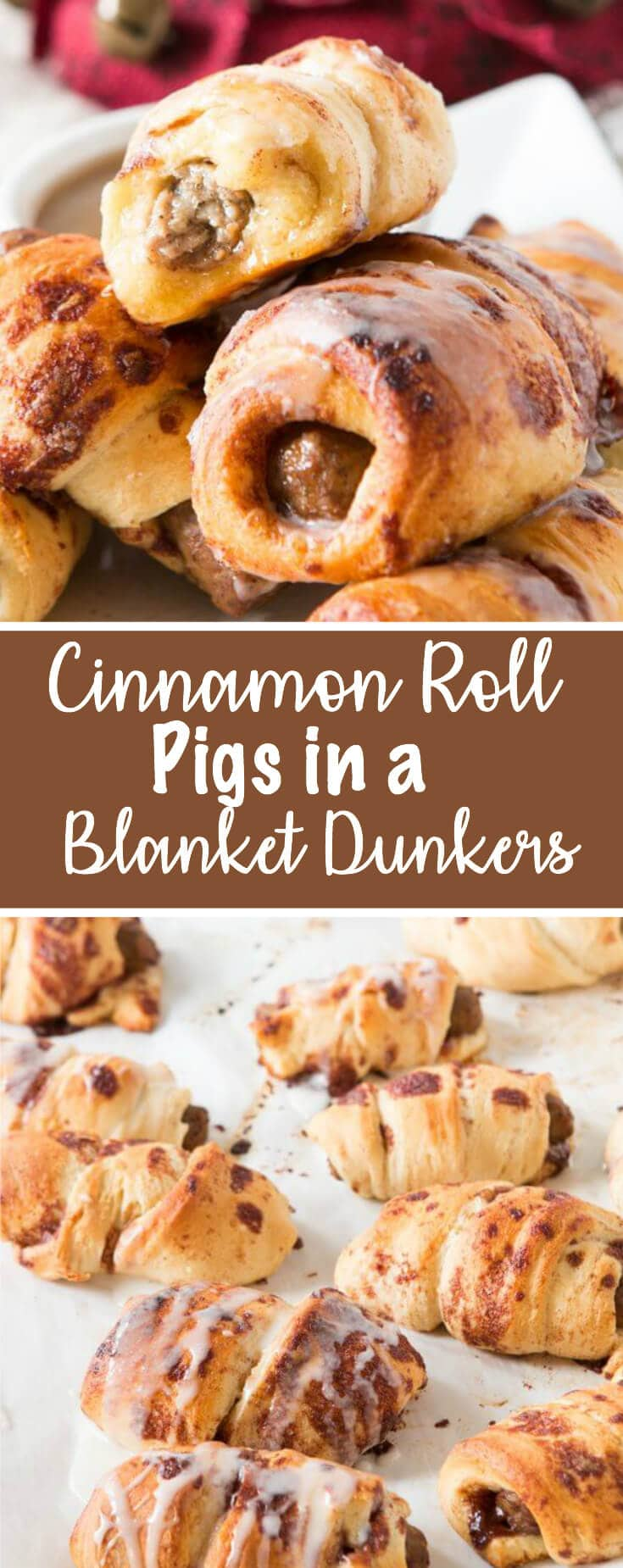 We made these cinnamon roll pigs in a blanket dunkers for breakfast the other day and it's our new go to breakfast!