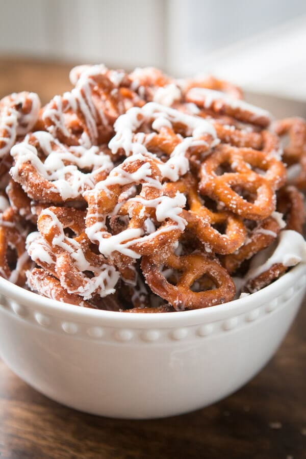 Cinnamon sugar pretzels are one of our all time favorite snacks or treats. Adults and kids cannot stay out of the bowl. Trust me! ohsweetbasil.com