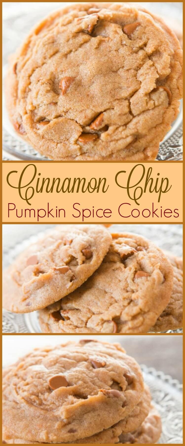 Our kids are in love with these cinnamon chip pumpkin spice cookies fresh from the oven and your kids will too once they try them! ohsweetbasil.com