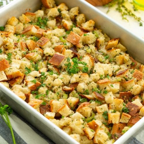 A photo of classic stuffing in a baking dish.