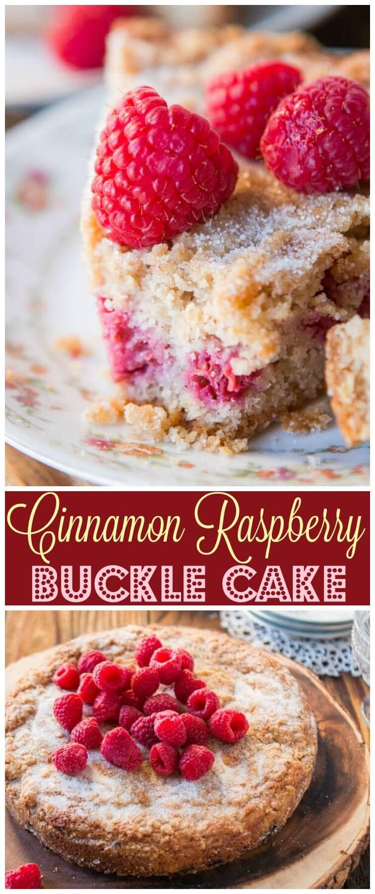 I love finding old fashioned, favorite family recipes that you may have grown up eating at Grandma's house, like this Cinnamon Raspberry Buckle Cake.. ohsweetbasil.com
