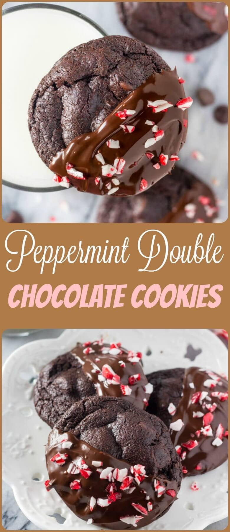 Peppermint Double Chocolate Cookies have a rich chocolate taste and are infused with peppermint. They're dipped in chocolate and sprinkled with crushed candy canes for the perfect holiday cookie! ohsweetbasil.com