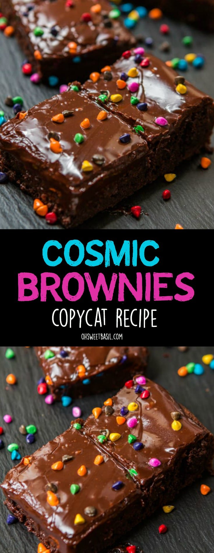 A fudgy brownie with little pieces of rainbow chip candies to make the best Cosmic Brownies Copycat Recipe
