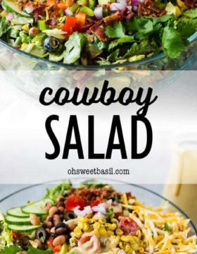 a bowl of salad with veggies, cheese and bacon with a bbq salad dressing being poured on top