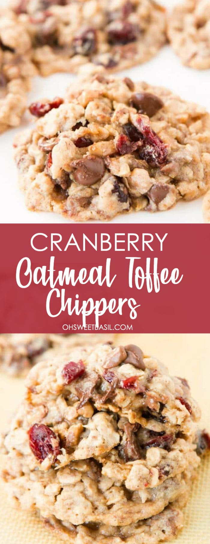A stack of the best Cranberry Toffee Oatmeal Chippers