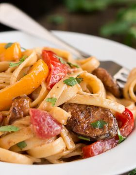 Enjoy the spicy flavors of the south in this Creamy Cajun Pasta with Smoked Sausage.
