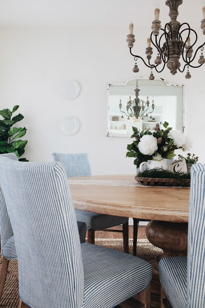French Country Dining Room In White With Natural Wood, Blue And White  Striped Chairs,
