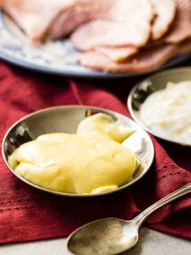Honey Mustard Ham Dipping Sauce is literally my obsession every holiday! ohsweetbasil.com
