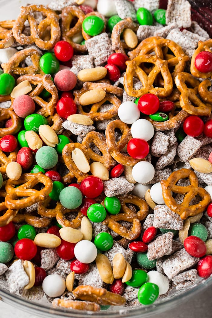 a glass bowl of 5 minute christmas snack mix