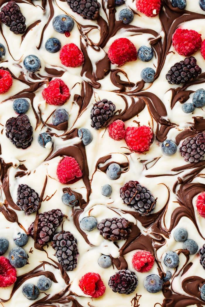 a pan of healthy chocolate swirled berry frozen yogurt bark
