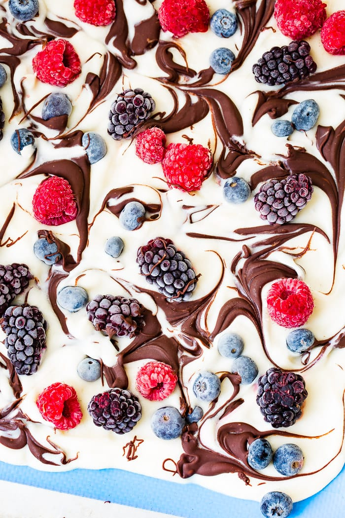a pan of healthy chocolate swirled berry frozen yogurt bark
