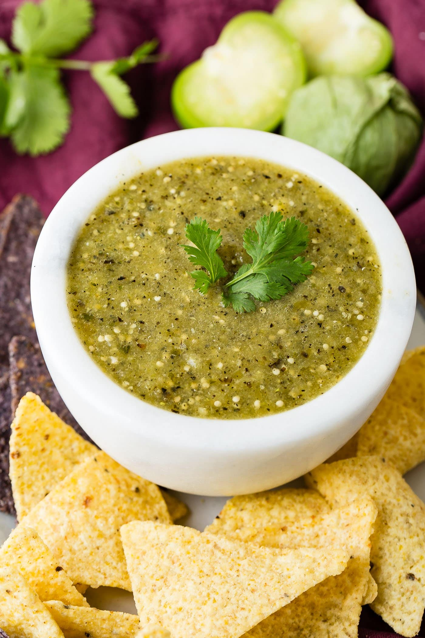 A white bowl of salsa verde with a couple of cilantro leaves on top. The bowl is surrounded with corn chips and there are tomatillos and cilantro leaves in the background.