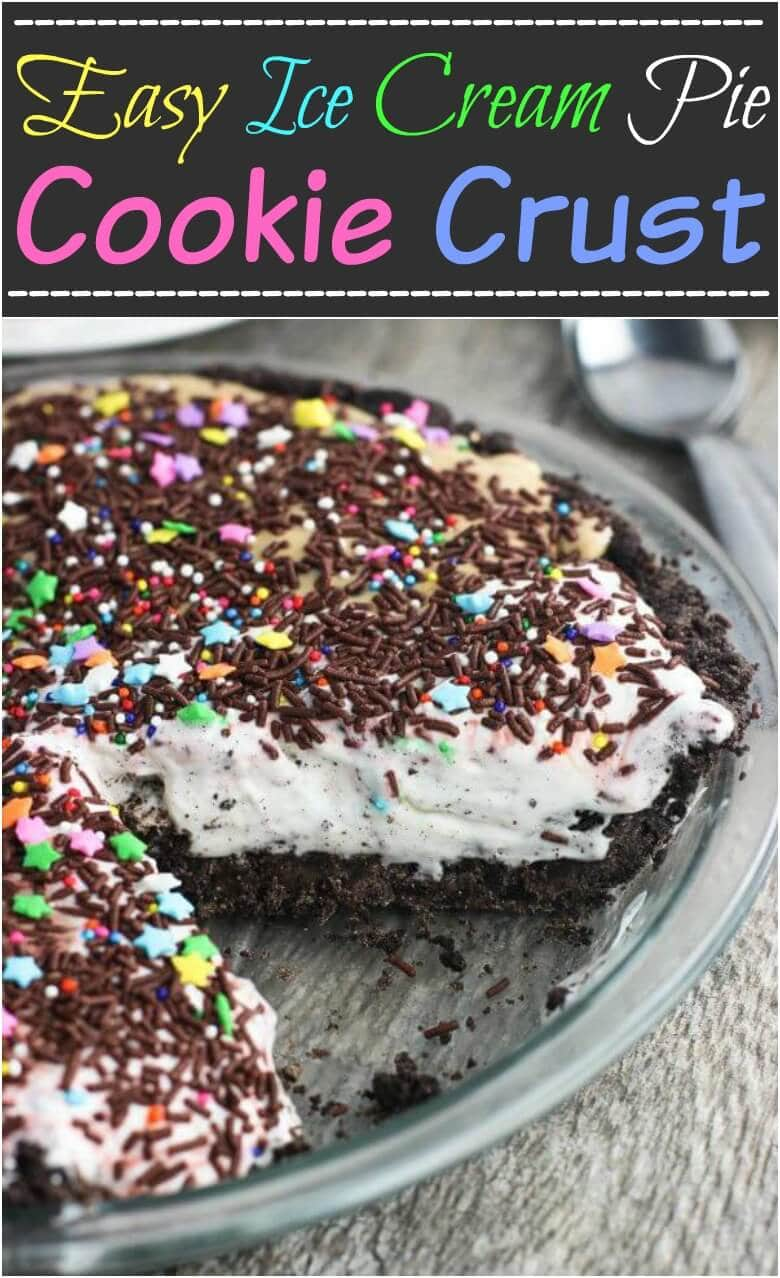 We will be enjoying this easy ice cream pie with a cookie crust all summer long. It's perfect for the pie lovers, cookie lovers and the ice cream lovers! ohsweetbasil.com
