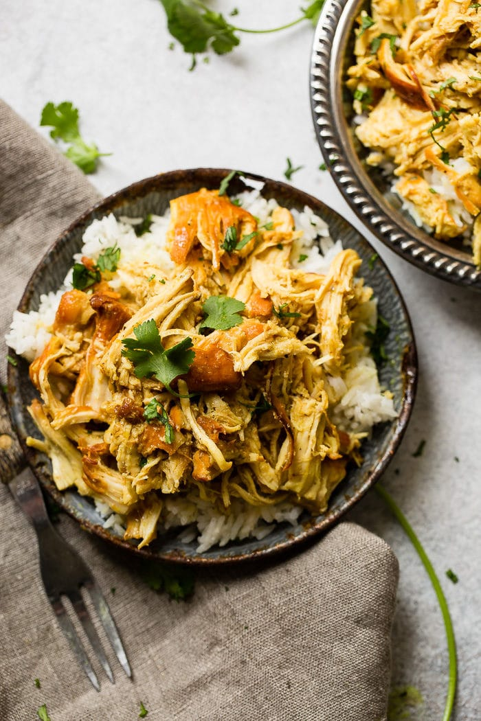 Easy instant pot honey chicken oh sweet basil a metal vintage bowl filled with white long grain rice and shredded chicken with a forumfinder Images