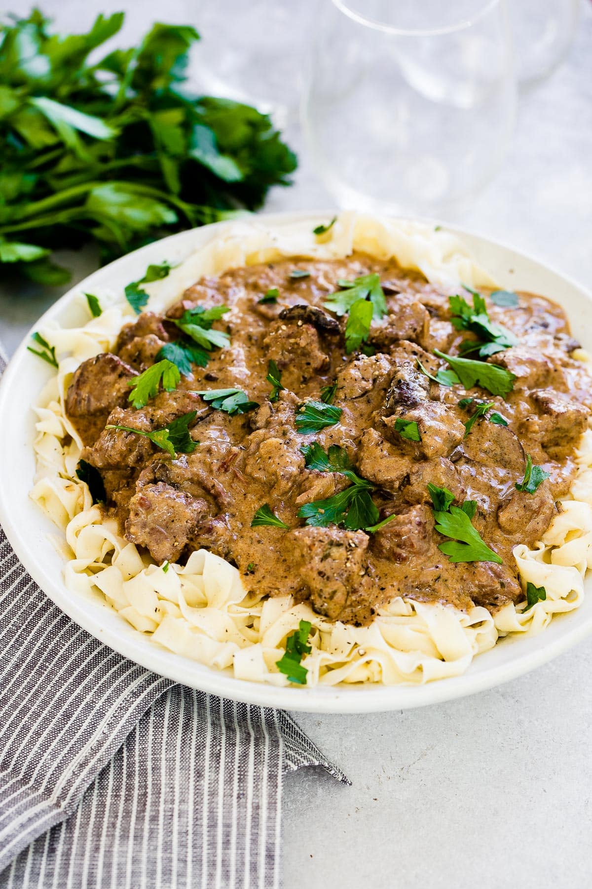 pasta and homemade beef stroganoff made in instant pot