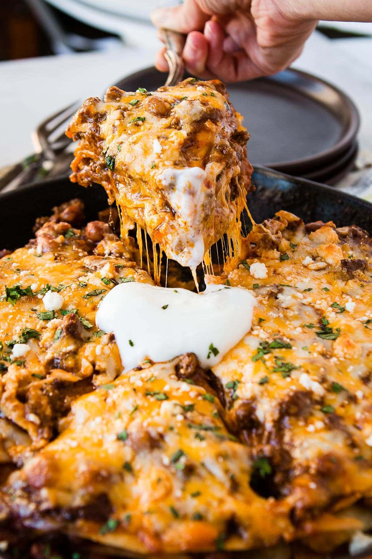 Mexican Ground Beef and beans enchilada tortilla stack is what's for dinner! ohsweetbasil.com