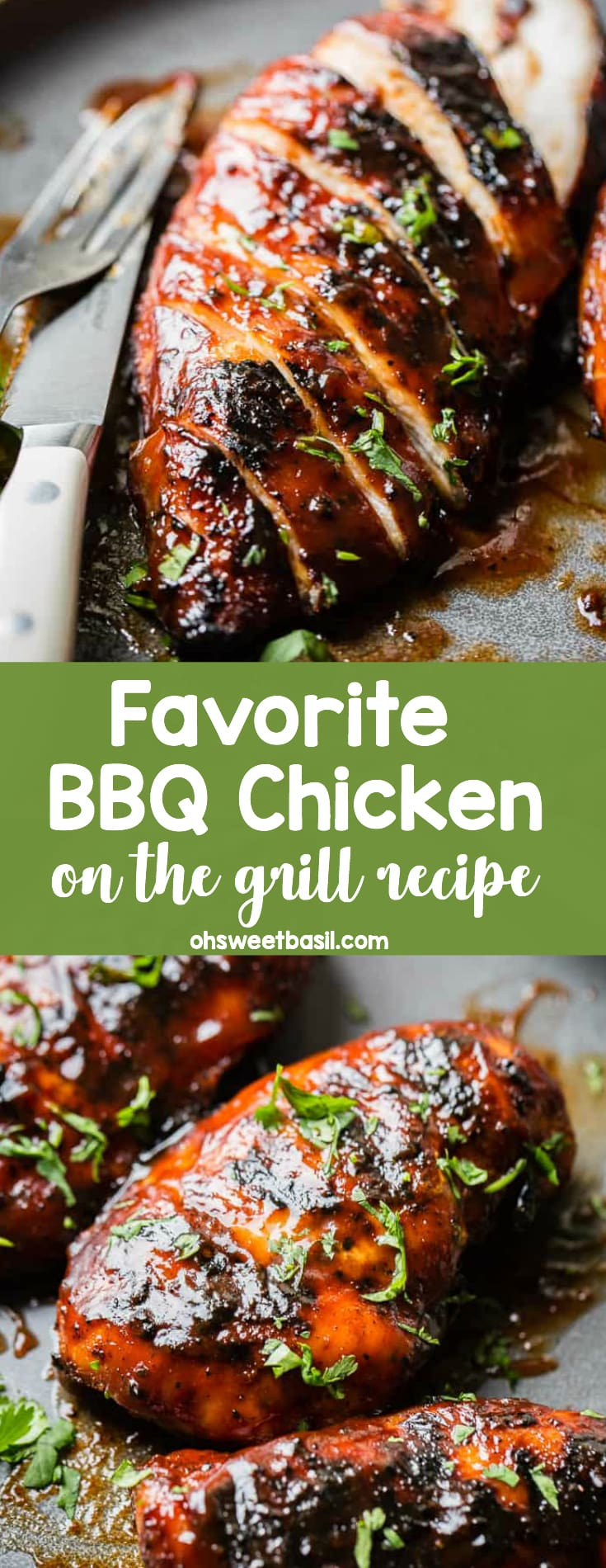 A grey plate with a sliced BBQ chicken sprinkled with parsley. This is our favorite BBQ Chicken Recipe.