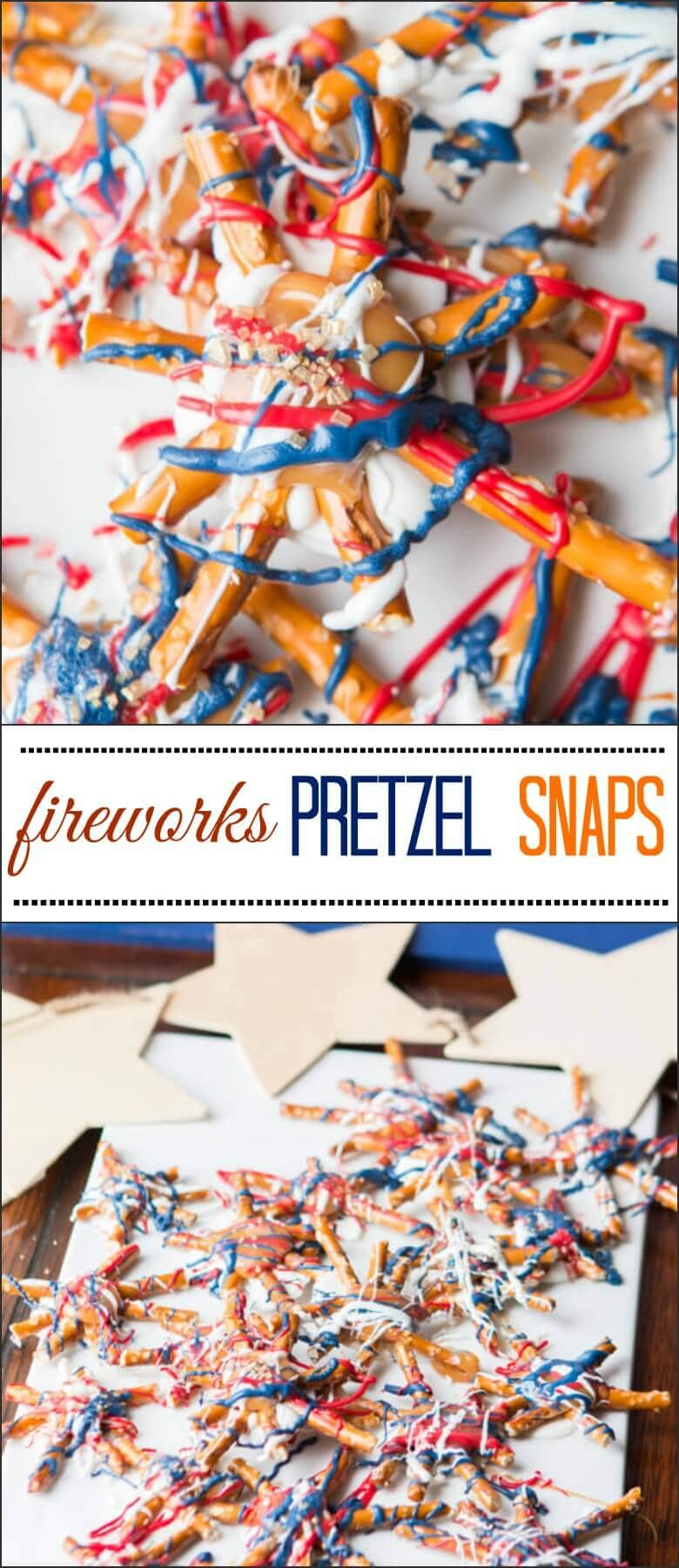 Salty, sweet and crunchy. Fireworks pretzel snaps are so easy to make, white chocolate, caramel and a few pretzels and you're ready for 4th of July treats! ohsweetbasil.com
