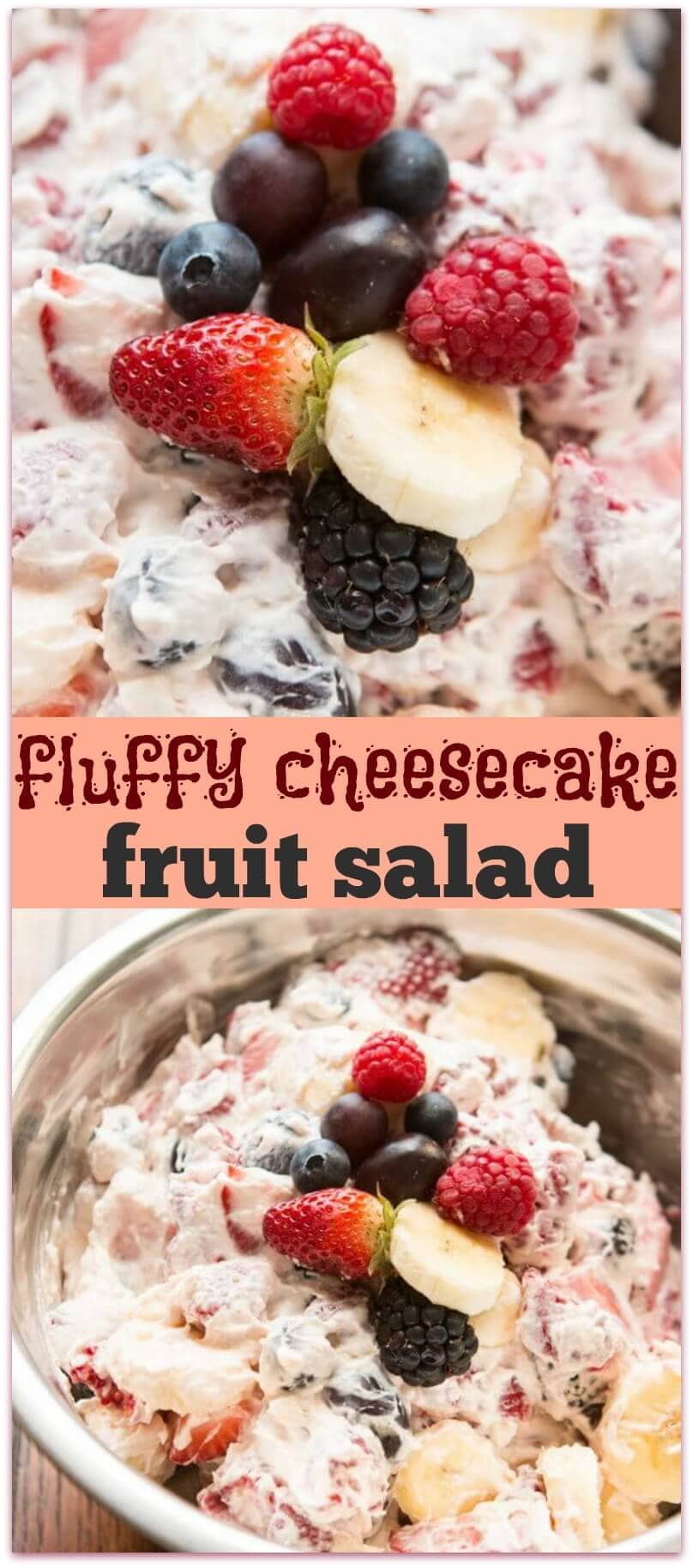 This cheesecake fruit salad is awesome for a side at a potluck or BBQ or even as a dessert! Plus it's so easy it's foolproof!