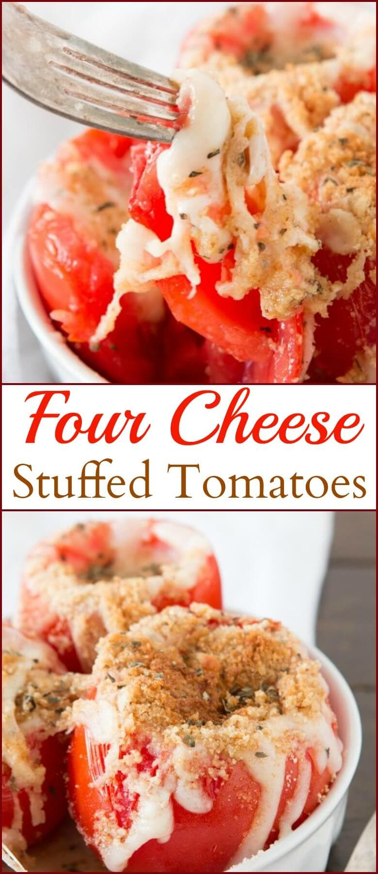 Summer is coming to a close soon but we are still eating up as much fresh fruits and veggies as we can like these four cheese stuffed tomatoes!