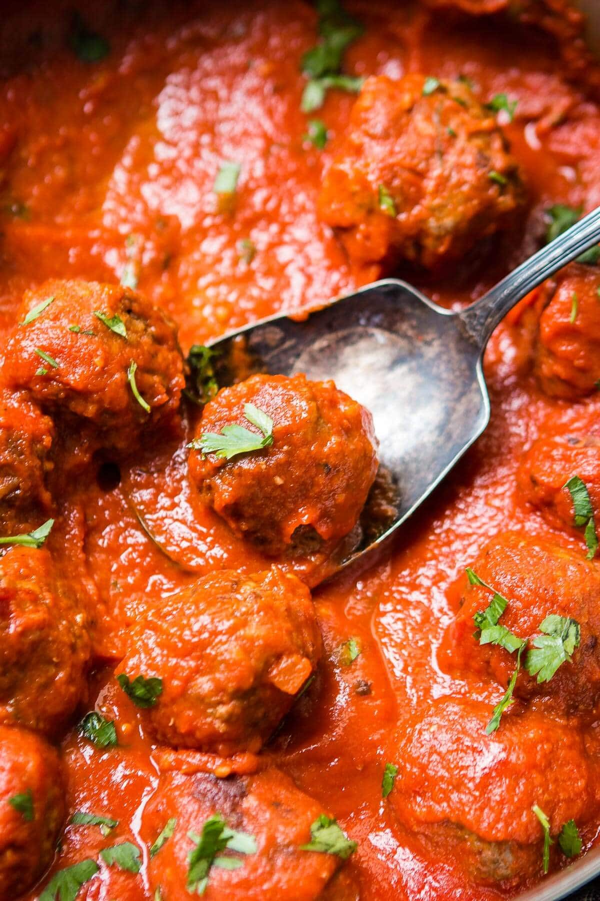 spoon in batch of porcupine meatballs