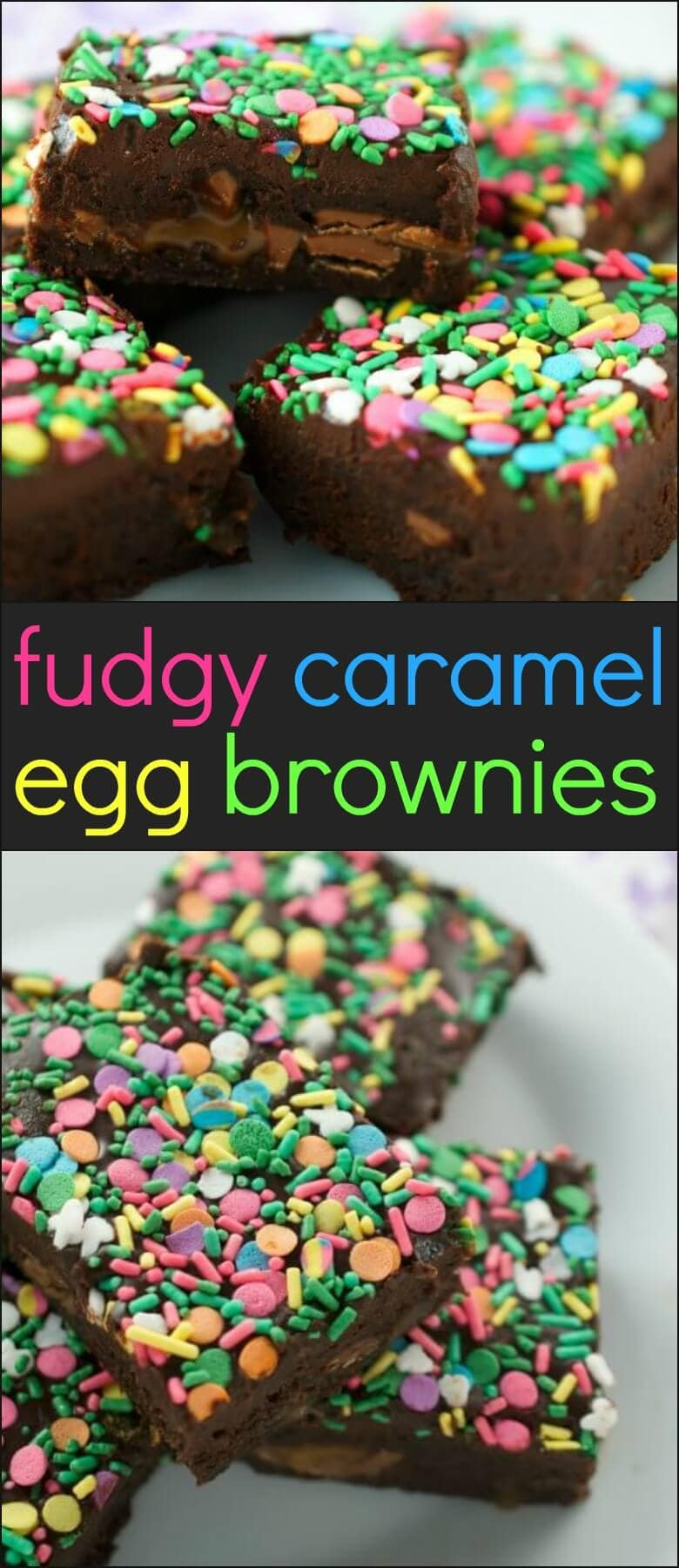 Fudgy Caramel Egg Brownies are a decadent brownie loaded with caramel filled eggs and topped with dark chocolate ganache.
