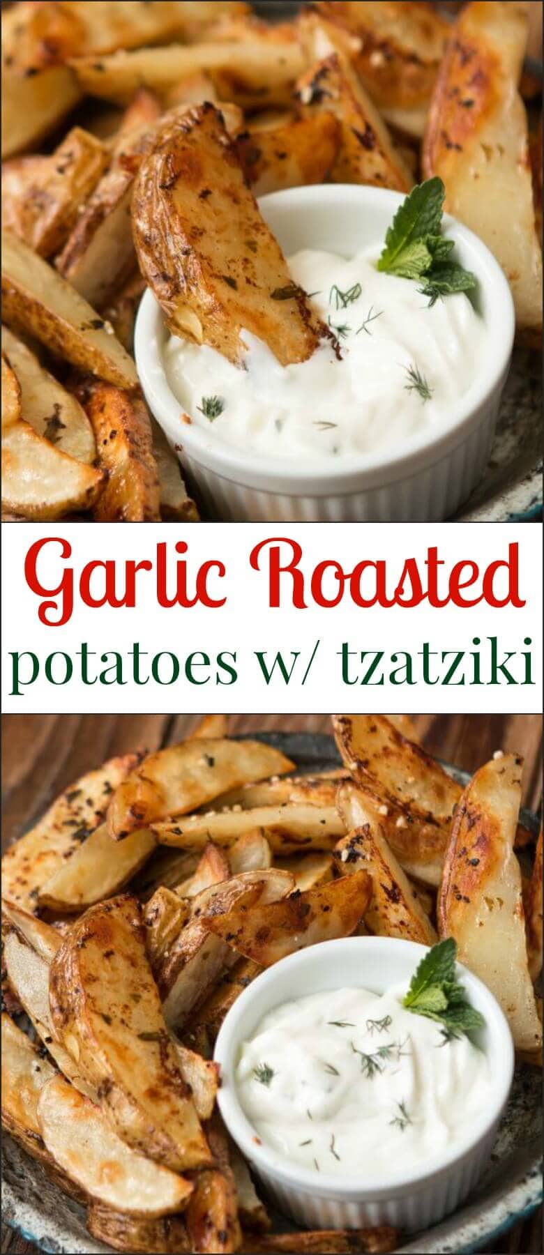 Roasted potatoes dipped in a creamy, garlicky tzatziki sauce. ohsweetbasil.com