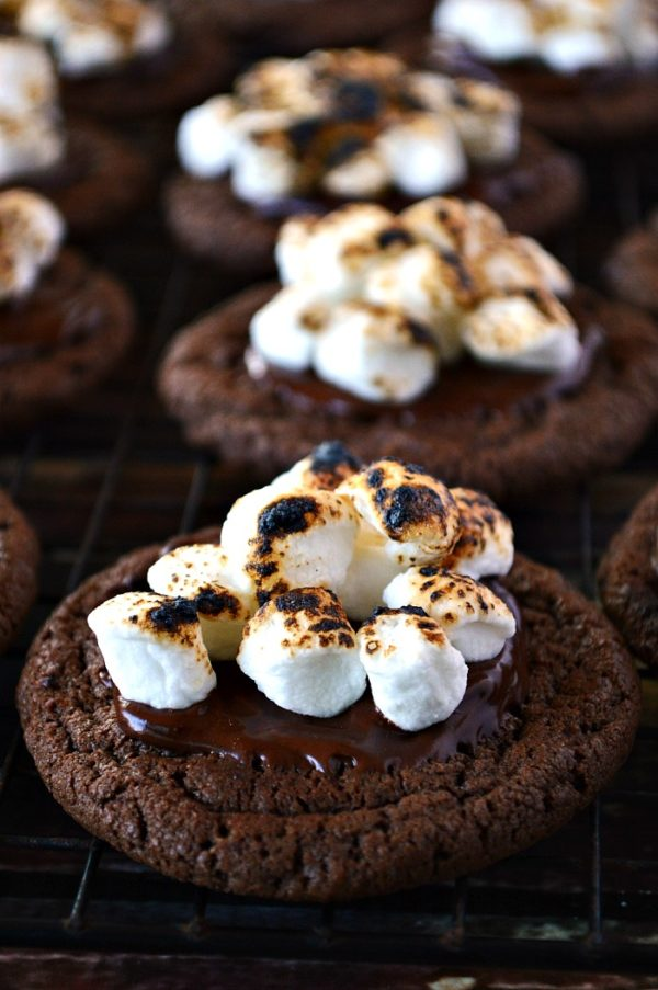 Indulge in these Gluten Free Double Chocolate Cookies with Toasted Marshmallows; fudgy chocolate cookies with melted chocolate and gooey, toasted marshmallows on top. Try to keep your hands off these!