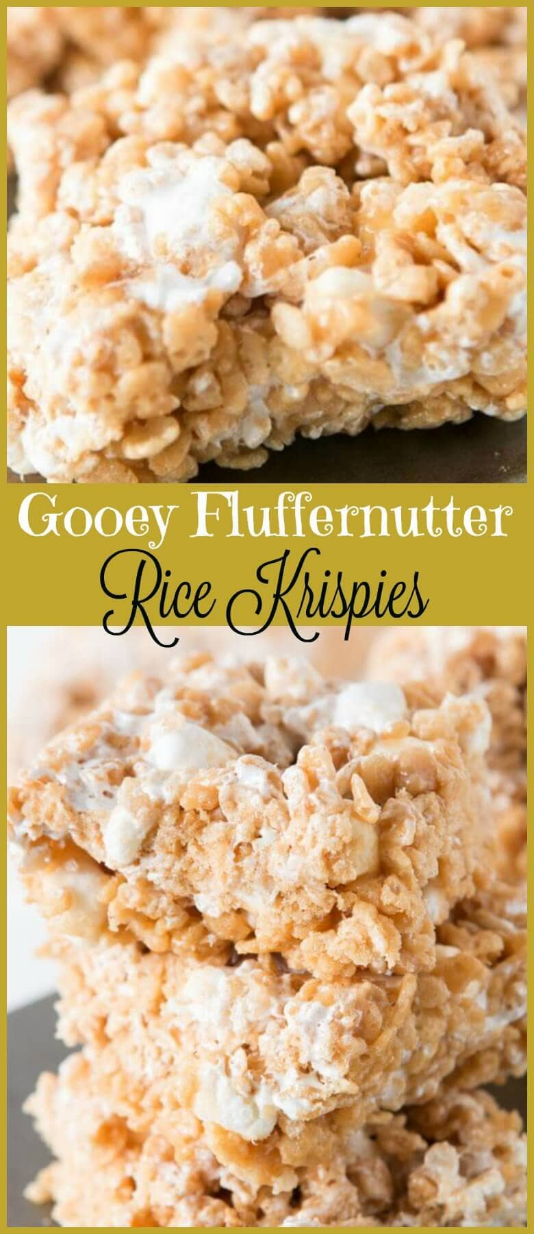 Gooey Fluffernutter Rice Krispies, oh yeah baby ohsweetbasil.com marshmallows, no-bake