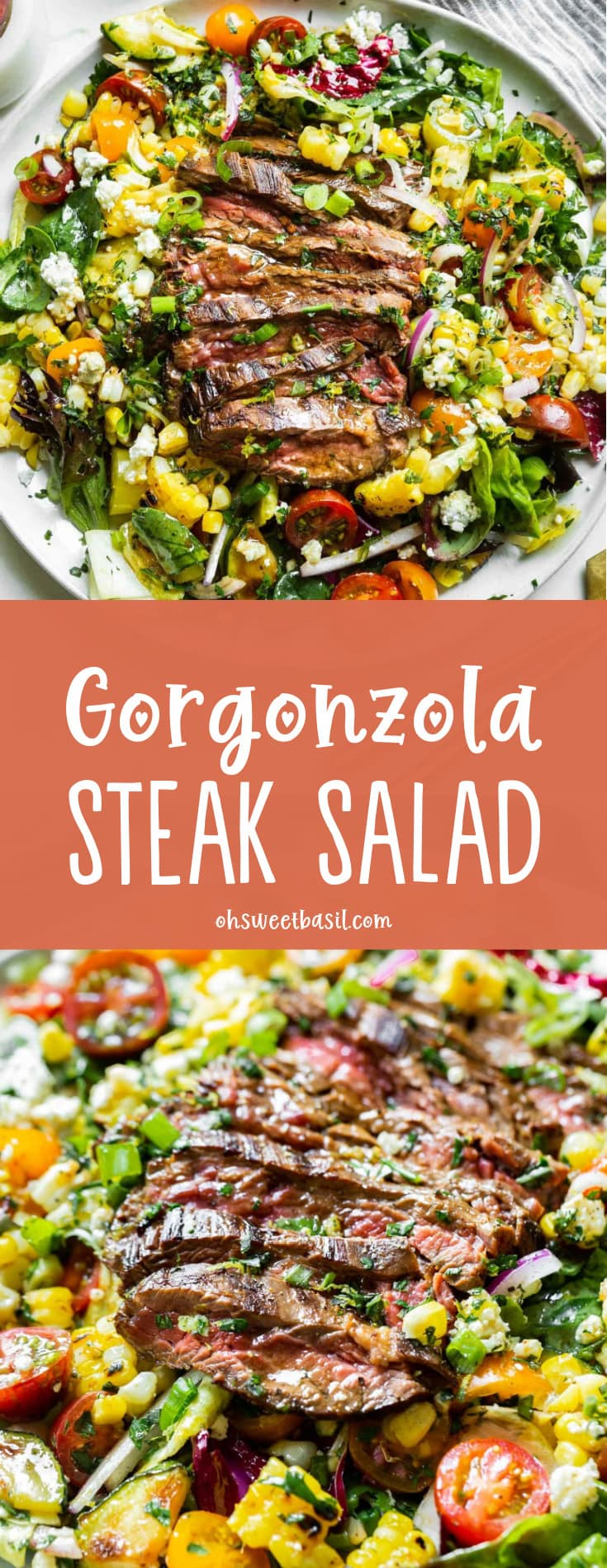 a photo of a large white plate topped with mixed greens, grilled corn, tomatoes, gorgonzola cheese and topped with a grilled sliced flank steak.