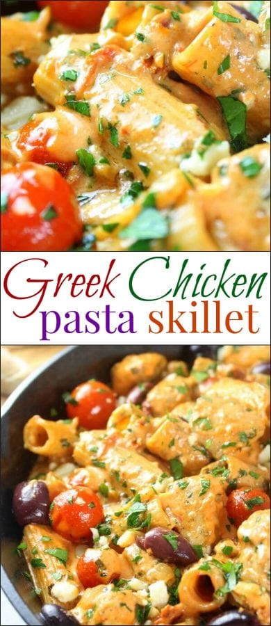 This Greek Chicken Pasta Skillet is zesty and creamy and full of all your favorite Mediterranean flavors! With sun-dried tomatoes, feta cheese, Kalamata Olives, garlic, chicken, pasta and more – it's truly a meal the whole family will love!