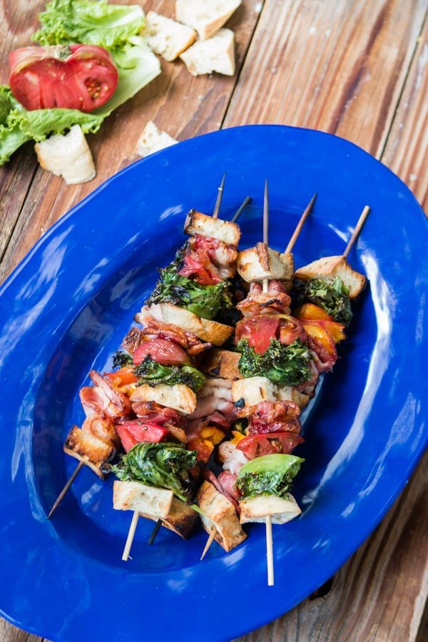 If you thought you loved a fat, juicy BLT sandwich you're going to go nuts for these grilled blt kabobs with a garlic aioli drizzle! ohsweetbasil.com