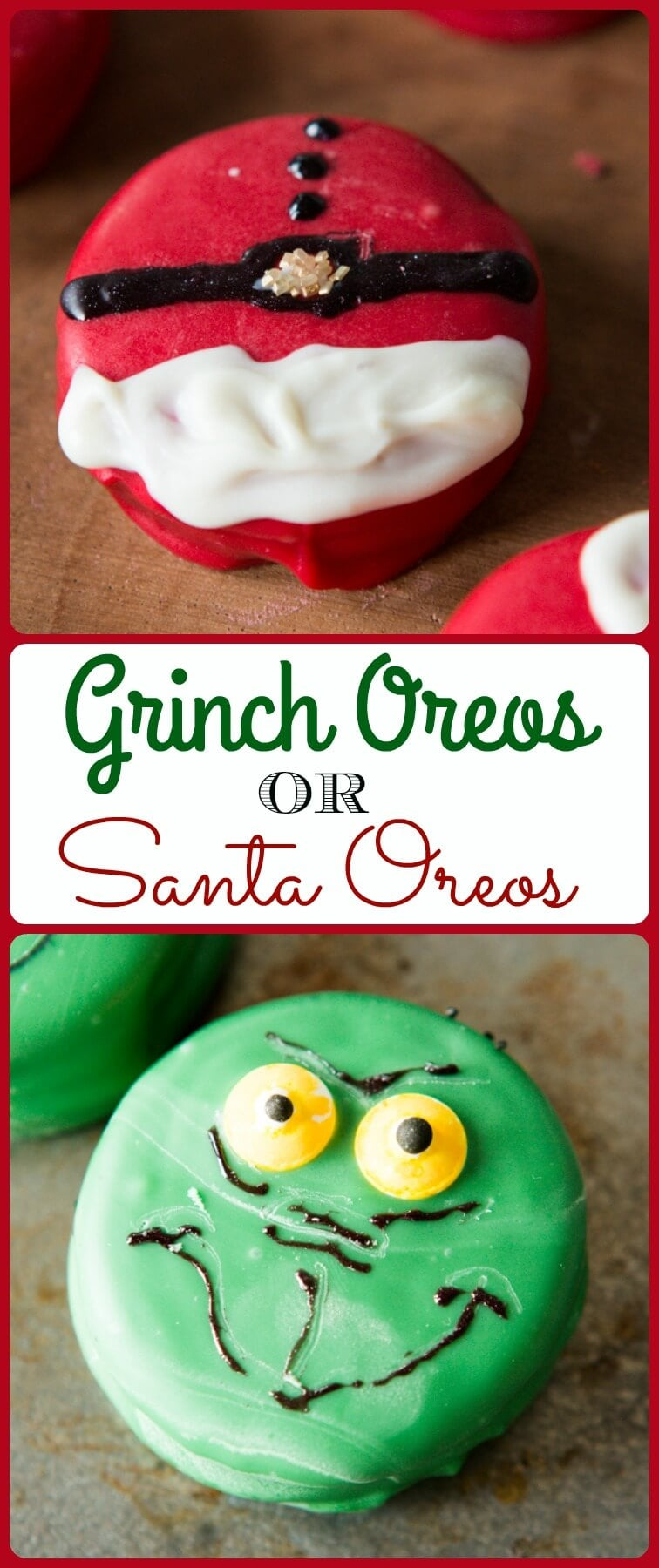 The kids love eating these adorable grinch oreos or santa oreos and moms and dads love that it's a quick and easy activity for the long winter break! ohsweetbasil.com