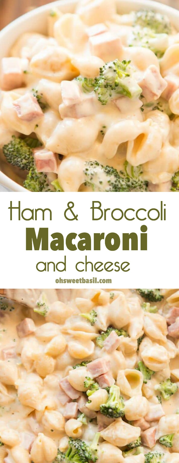 A cup of ham & broccoli macaroni and cheese