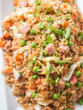 Ham Fried Rice on a white serving platter.