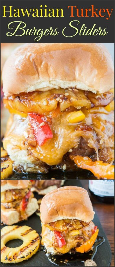 Just wait until that teriyaki sauce is dripping down your fingers as you bite into these Hawaiian Turkey Burgers Sliders! ohsweetbasil.com