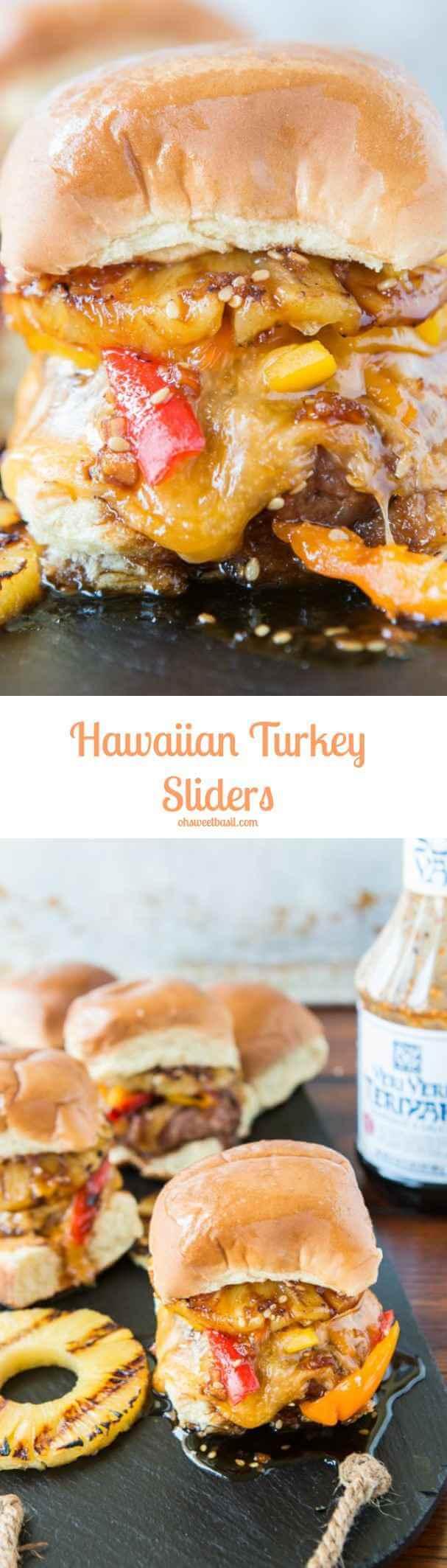 Everyone's favorite Hawaiian Turkey Burger Sliders with pineaple and teriyaki! ohsweetbasil.com