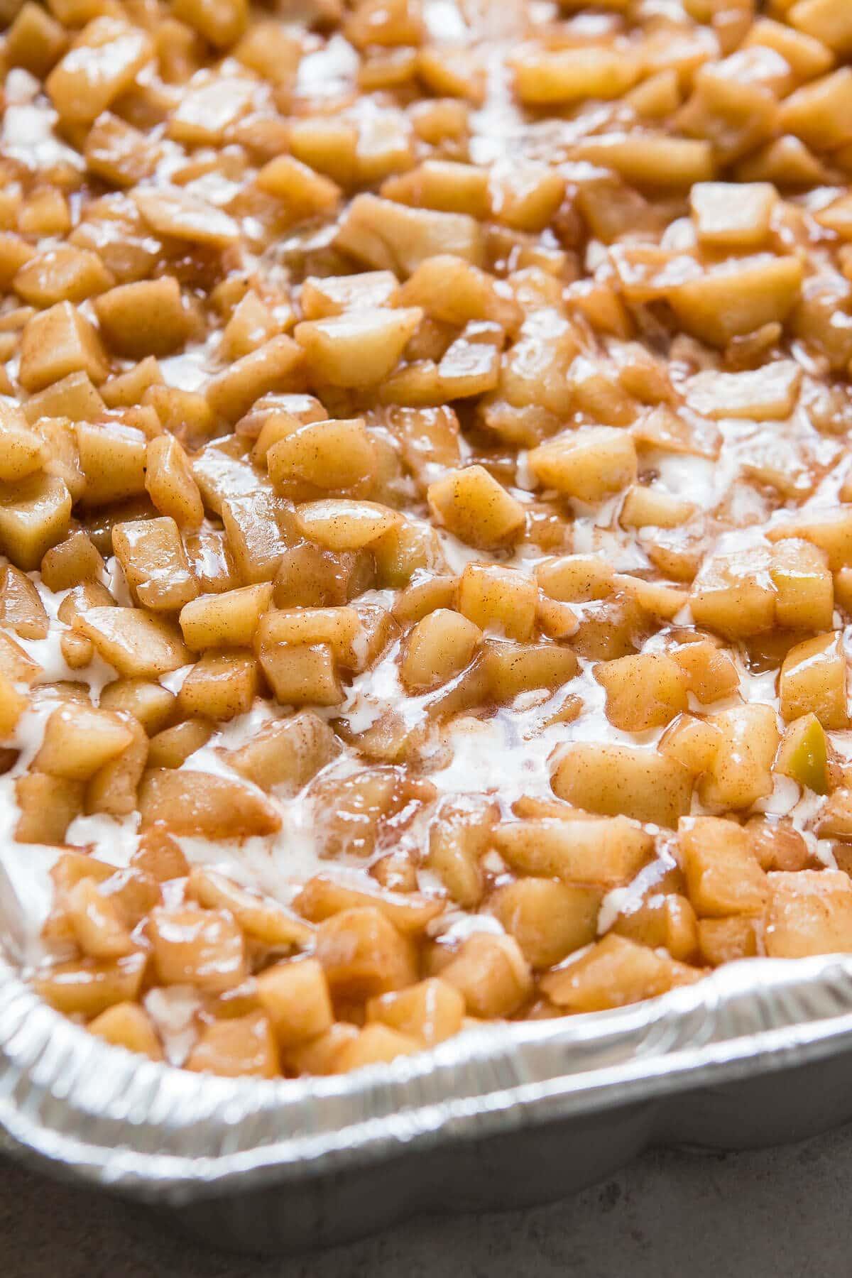 Apple pie filling over creamy vanilla and cinnamon ice cream ohsweetbasil.com