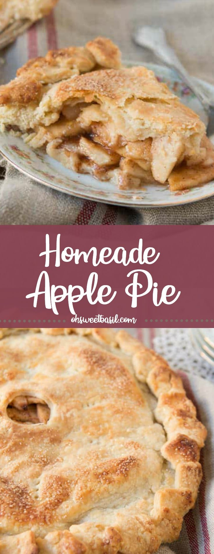 A slice of homemade apple pie with a flaky crust