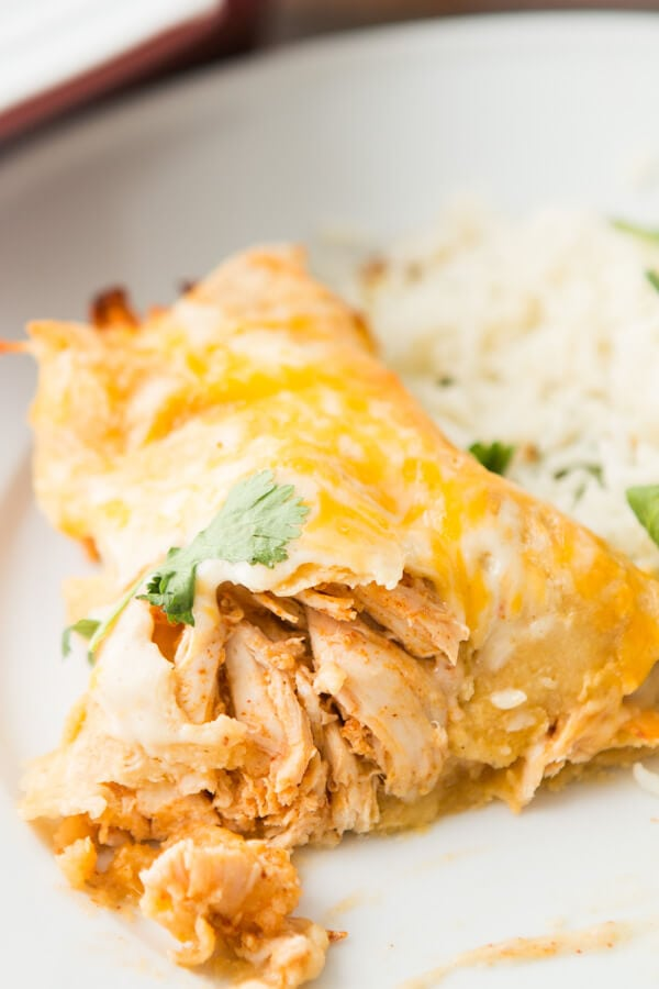 These Honey Lime Chicken Enchiladas have changed our view of Enchiladas forever. The marinated chicken and cheese are so good! ohsweetbasil.com