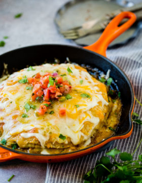 http://ohsweetbasil.com/one-skillet-enchilada-casserole-recipe/