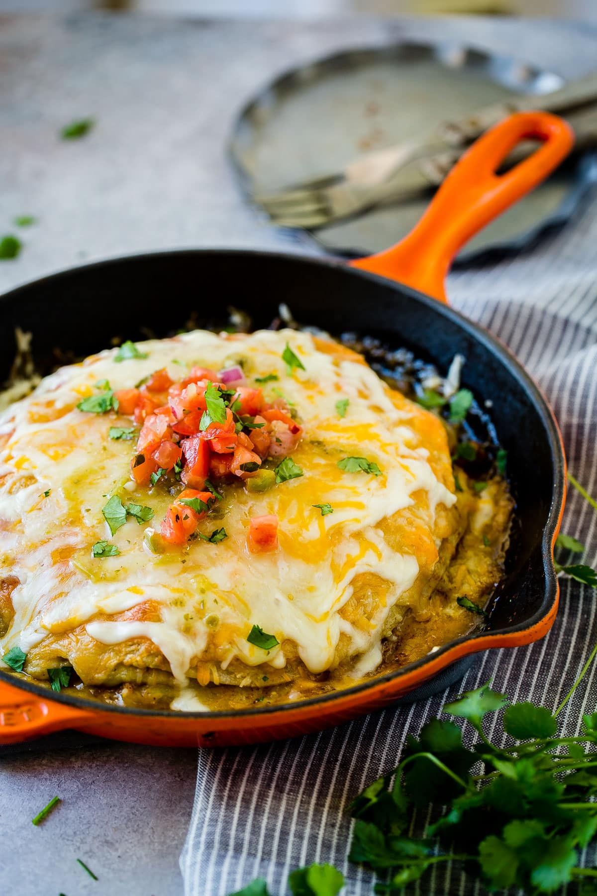 Need a quick and easy Mexican recipe? Try our one skillet honey lime chicken enchiladas casserole with pinto beans and lots, and lots of cheese! ohsweetbasil.com