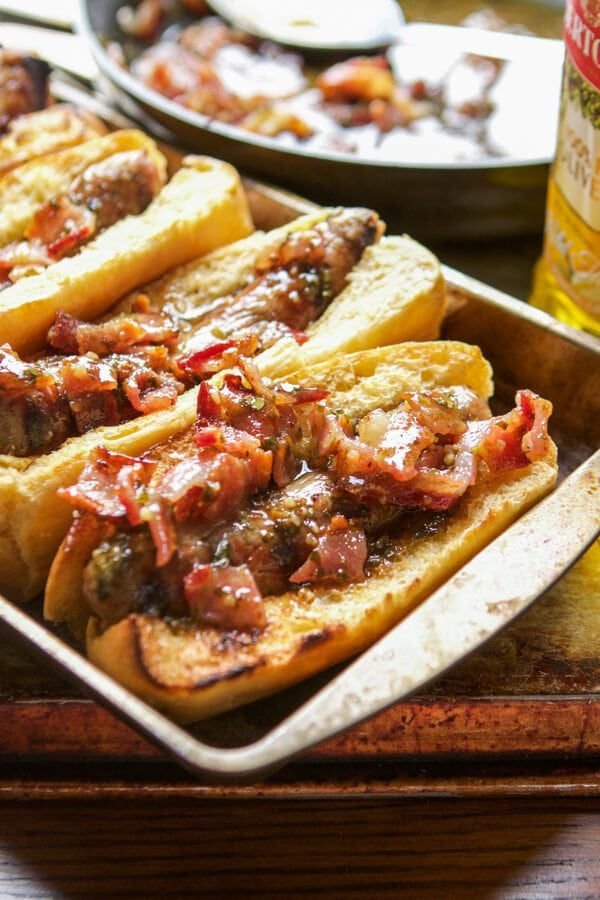 It's brat season and we are cooking up the most amazing honey mustard bacon brats for dinner tonight so dig in with us!!!