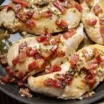 This isn't your normal one skillet recipe. This honey mustard bacon chicken skillet is healthier for a few reasons but still totally craveable! ohsweetbasil.com