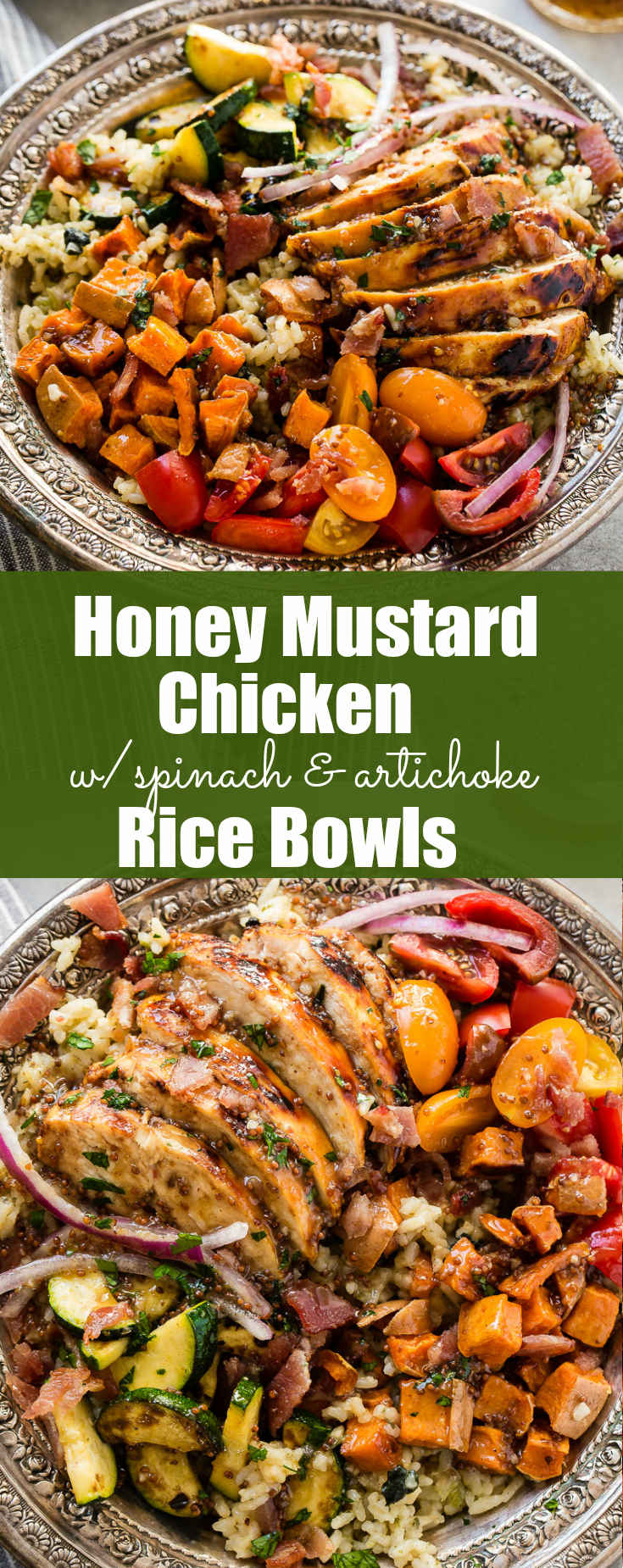 Need recipes for holiday leftovers, but also need quick and easy healthy recipes? Honey mustard chicken with spinach and artichoke rice bowls are it!