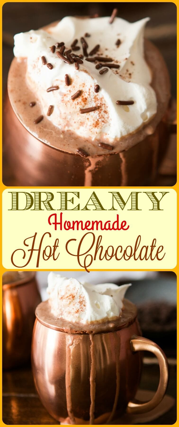 Hands down the creamiest dreamy homemade hot chocolate! No more taking a couple of sips and throwing the rest away, you'll gulp down every bit of this one! ohsweetbasil.com