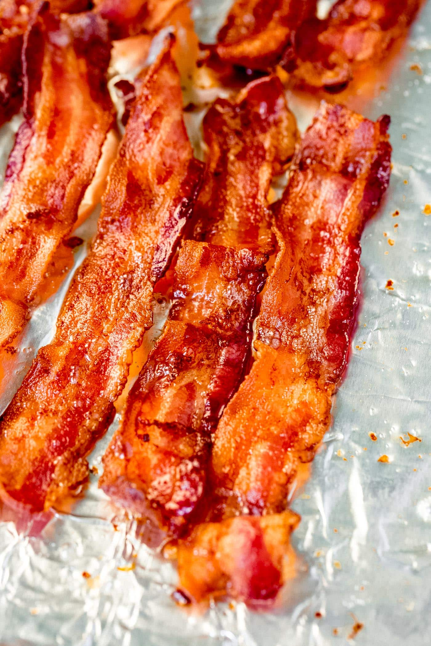 Four slices of perfectly crisp bacon.