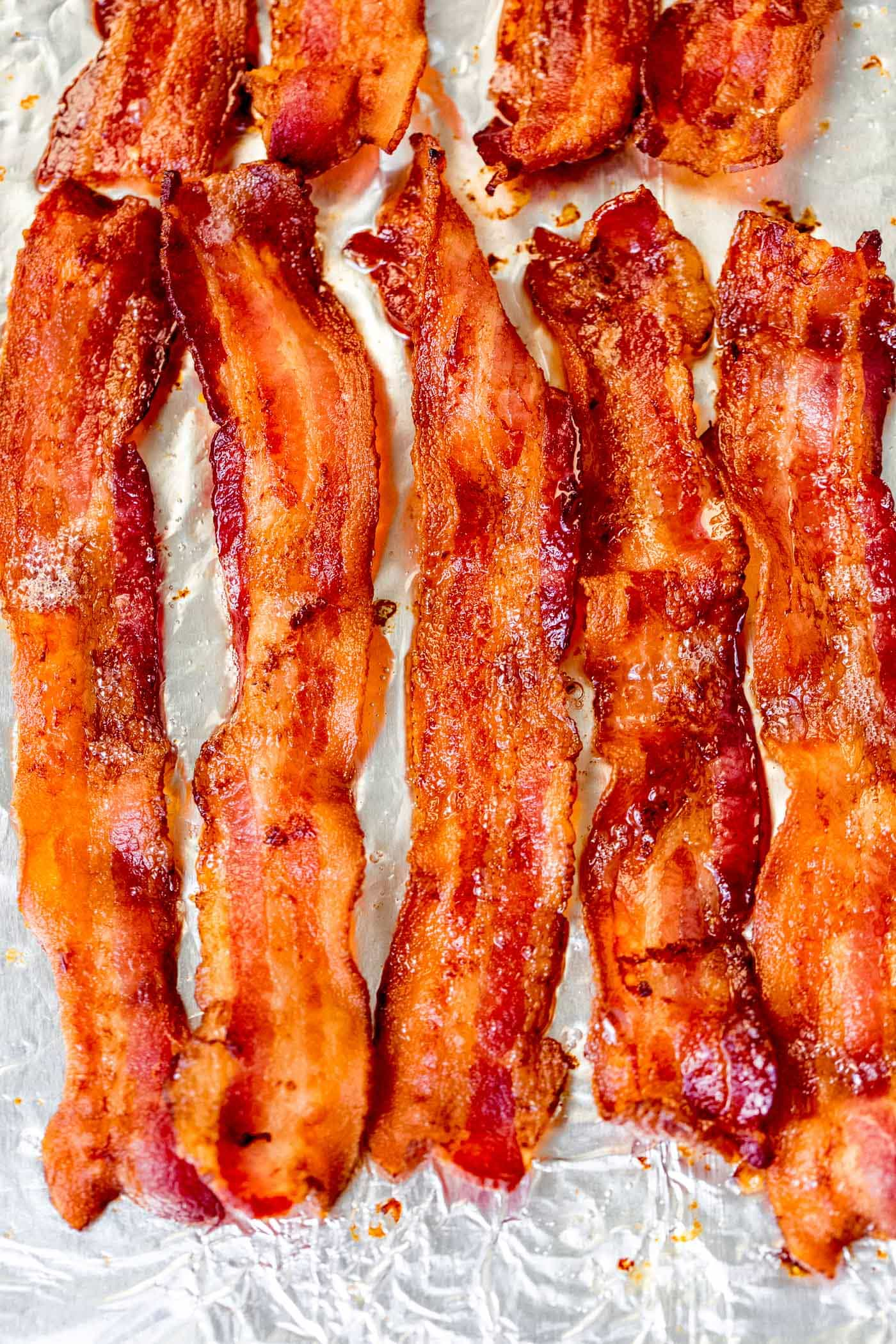 Five slices of perfectly crisp bacon.